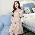 8109# Elegant Slim Waist Lace Maternity Dress 2017 Spring Fashion Long Sleeve Clothes for Pregnant Women Pregnancy Clothing