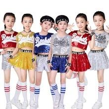 Дети Мальчики Девочки пайетки Джаз танцевальный костюм хип-хоп современный спектакль танцевальная одежда короткие комплекты Униформа Чирлидера Teamwear