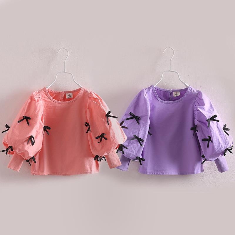 Spring 2016 han edition bowknot girl children's clothes Autumn children lantern sleeve shirt long sleeve shirt tx – 3415
