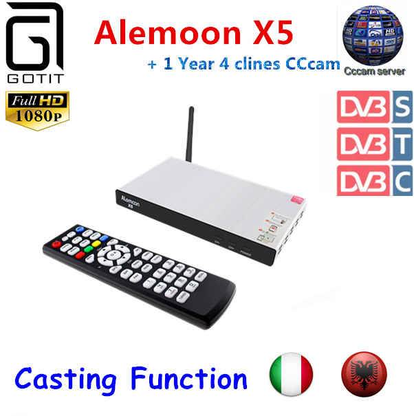 GOTiT ALEMOON X5 Combo DVB S/T/C Satellite Receiver EPG&Casting +1 year Europe Italy Albania CCcam New Version of V8 Golden lidia s italy
