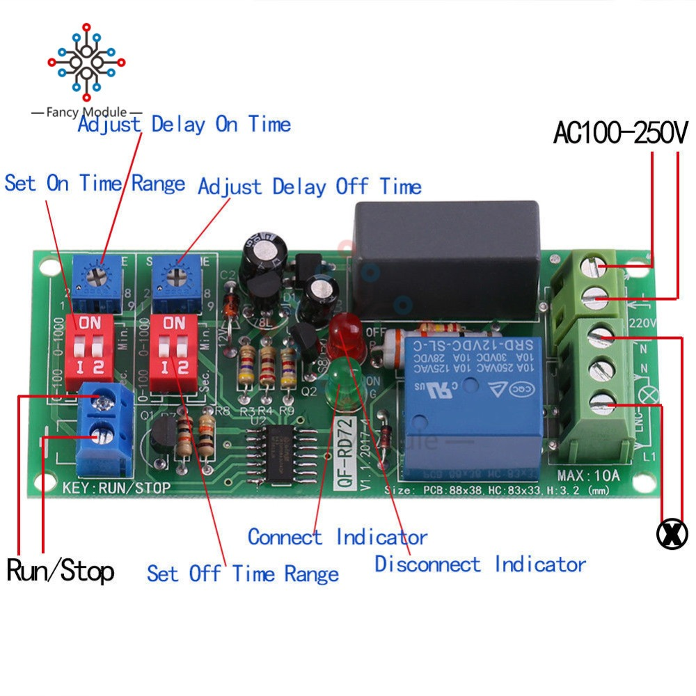 AC 220V~240V 230V Delay Timing Timer Relay Switch Time Delay Turn ON//OFF Module