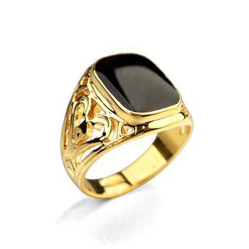 Fashion Black Man Ring 18 k yellow gold plated hollow heart Enamel