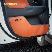 AOSRRUN cuoio Reale zerbino zerbino porta border protection cuscino accessori Auto copertura Per Mitsubishi ASX 2018 4/pcs