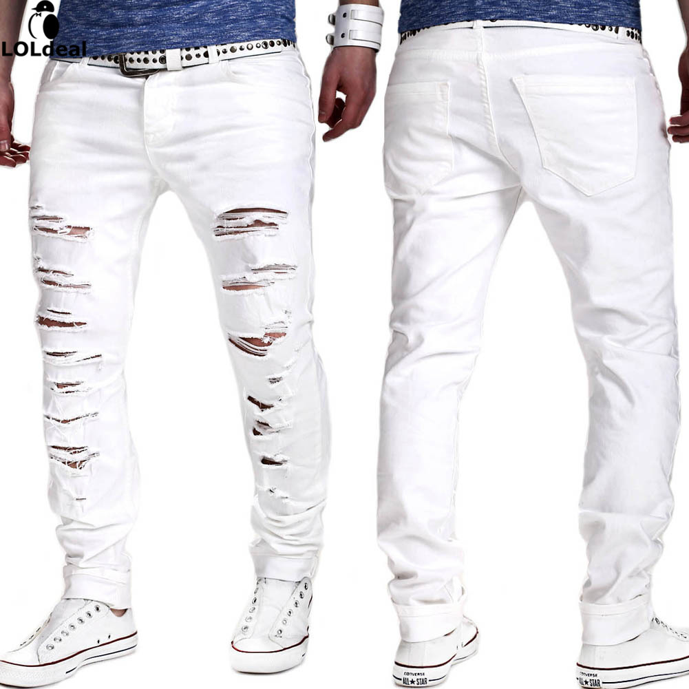 Loldeal  NEW Denim Ripped Jeans for Men Skinny Distressed Slim Fit Designer Biker Hip Hop White Black Jeans Male Skinny Jeans