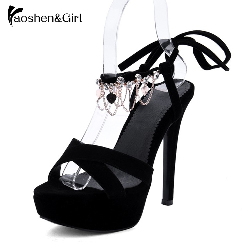 Haoshen Girl Women High Heel Sandals Platform Shoes Summer Party Sexy Heels  Sandals Chain Fashion Quality Gladiator 4dd1c6252d56