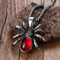 Mens Womens Punk Necklaces Vintage Retro Black Widow Spider Stainless Steel Pendant Necklace Gothic Red Stone
