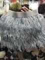 Venda por atacado de alta Qualidade Um pcs Sexy lady natural decoração do casamento da pena da avestruz saia cinza Um festivo da festa