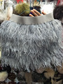 wholesale sale high Quality One pcs Sexy lady natural ostrich feather skirt  grey wedding decoration A festive party