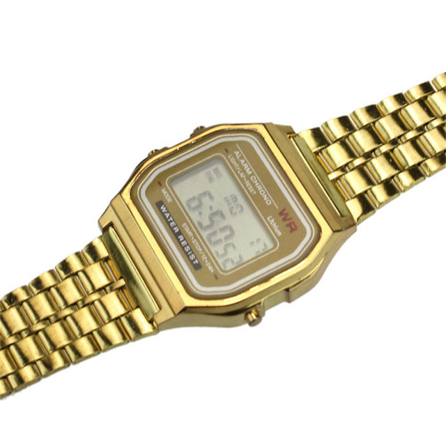 Luxury Business Golden Gold Watch Coperation Fashion Womens Men Dress watch Stainless Steel Digital Alarm Stopwatch Wrist Watch