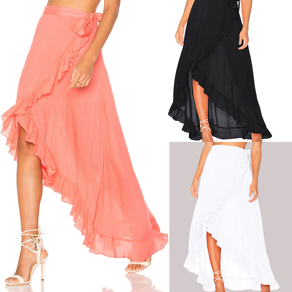 12f98f8365333 Black Chiffon Maxi Beach Skirt