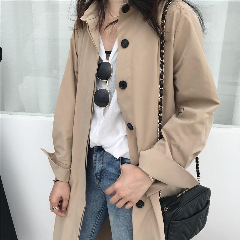 Women Autumn Long Sleeve cloak Long Trench Coat Female Pocket cardigan Straight Shirt Windbreaker Manteau Femme Hiver Overcoat 9