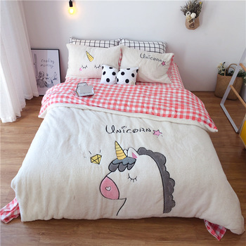 Lovely Fleece Unicorn Bedding Set