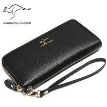цена на KANGAROO KINGDOM luxury brand women wallets genuine leather long lady clutch purse zipper card holder wallet