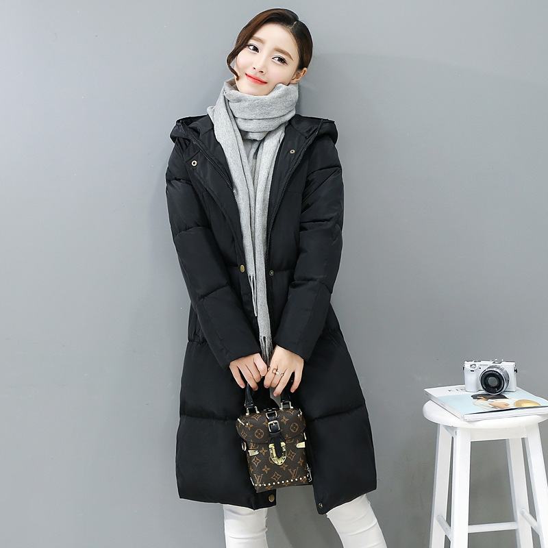 Fashion 2019 Women Winter   Parka   Slim Mid-length Coat Long Sleeve Hooded Warm Down Jacket Ladies Clothes Plus Size Casual Jacket
