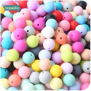 Bopoobo 100pcs Baby Nursing Accessories Silicone Beads Food Grade Teether DIY Jewelry Bracelet Crib Toy Baby Teether 15mm