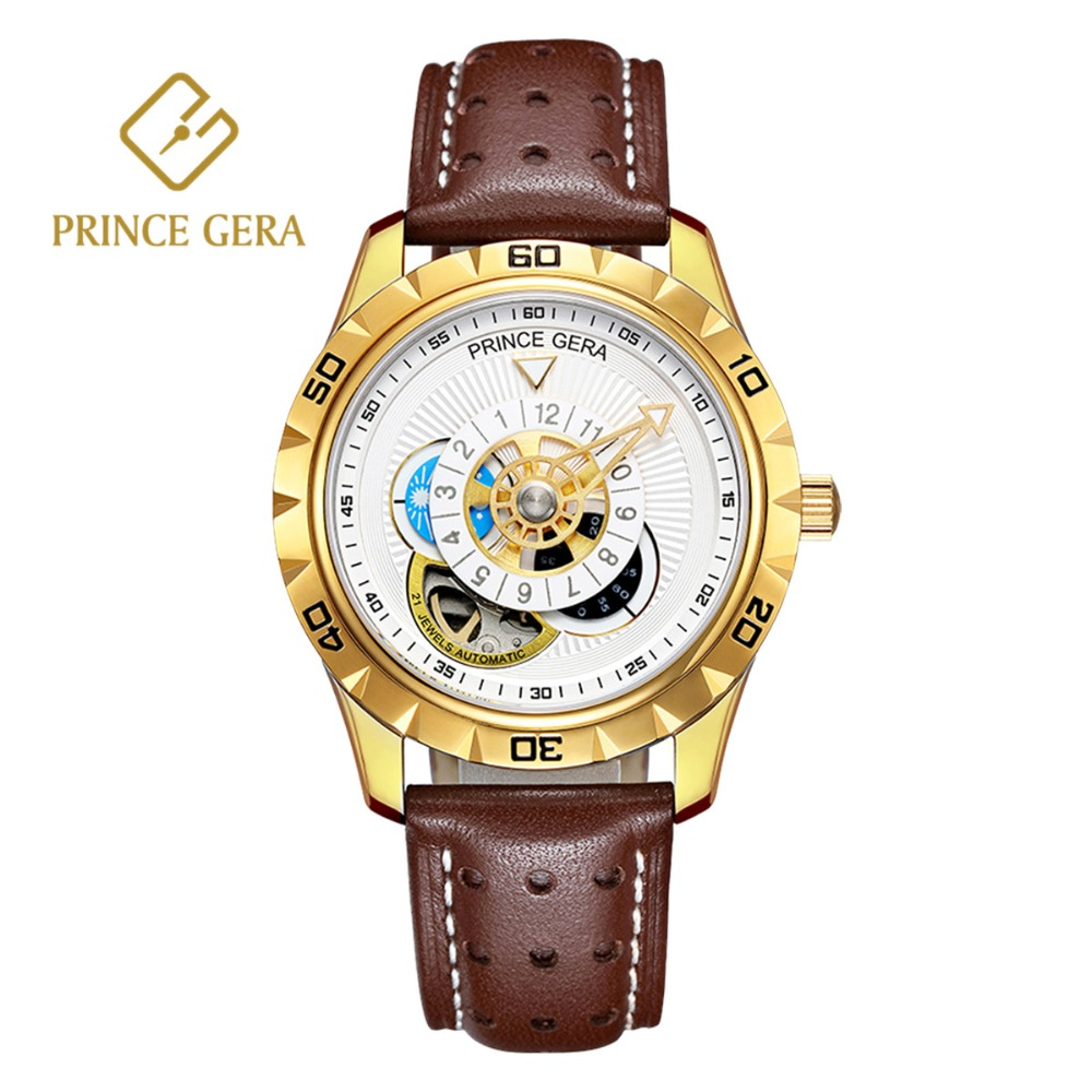 PRINCE GERA Men's Golden Automatic Watch Italian Imported Calfskin Strap Luxury Mechanical Watches 3 Dial Skeleton Watch For Men imported calfskin leather watch strap