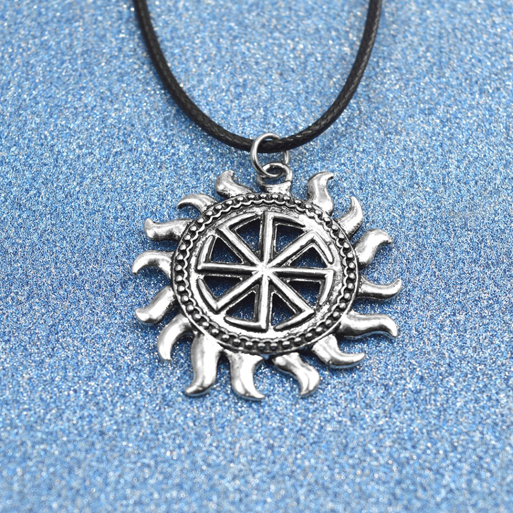 Daisies Silver Son Of Sun Sloar Kolovrat Slavic Amulet Pendant Necklace Rope Chain Viking Statement Jewelry For Boyfriend Gifts