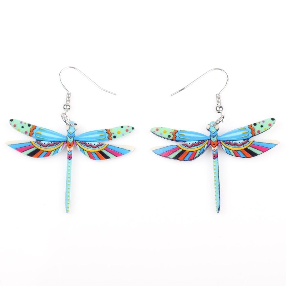 Muoti sormukset sudenkorento korvakorut akryyli pitkä pudota - Muotikorut - Valokuva 5