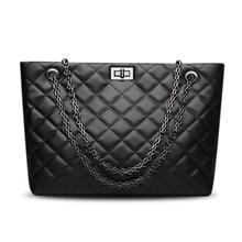 Luxe handtassen vrouwen tassen designer Lederen zwart La borsetta Koeienhuid Dames ketting Hasp Boodschappentas Capaciteit Tote Bols