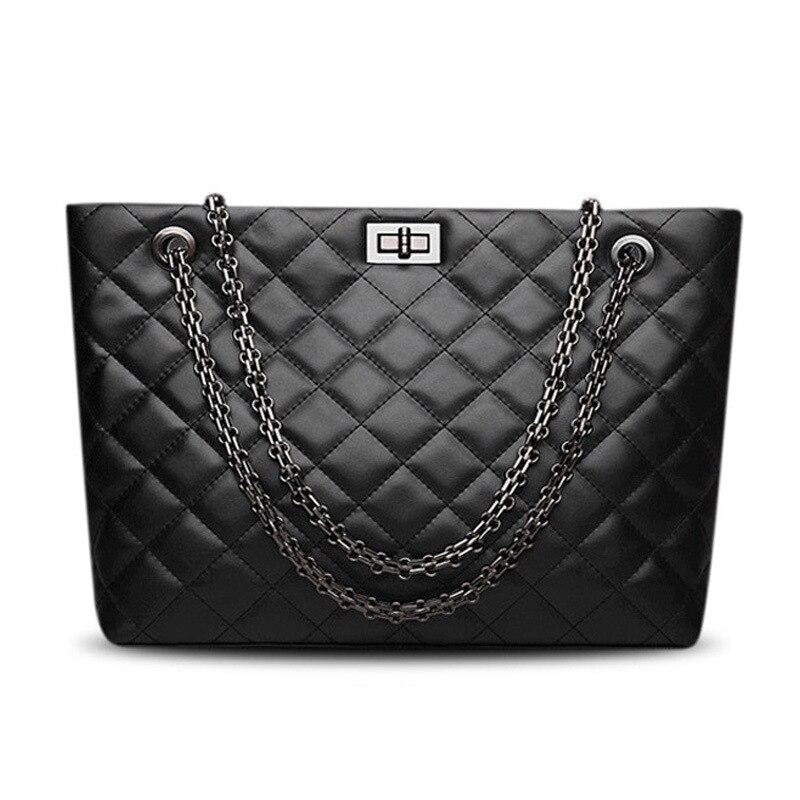 Sacs à main de luxe femmes sacs designer en cuir véritable noir La borsetta peau de vache dames chaîne moraillon sac à provisions capacité fourre-tout Bols