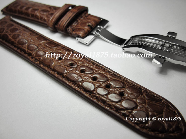 18 19 20 21 22mm real crocodile leather straps butterfly buckle Luxury upscale handmade Watchband strap