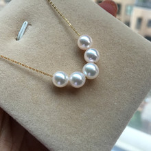 купить Women Gift word 925 Sterling silver real Permanent Akoya natural seawater pearl necklace 6.5-7 five mm round to 18K по цене 6154.25 рублей