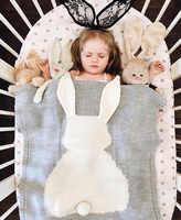Conejo oso zorro de punto bebé Animal de dibujos animados manta sofá carro cochecito cubiertas del cochecito edredones infantiles ropa de cama Swaddle recién nacido