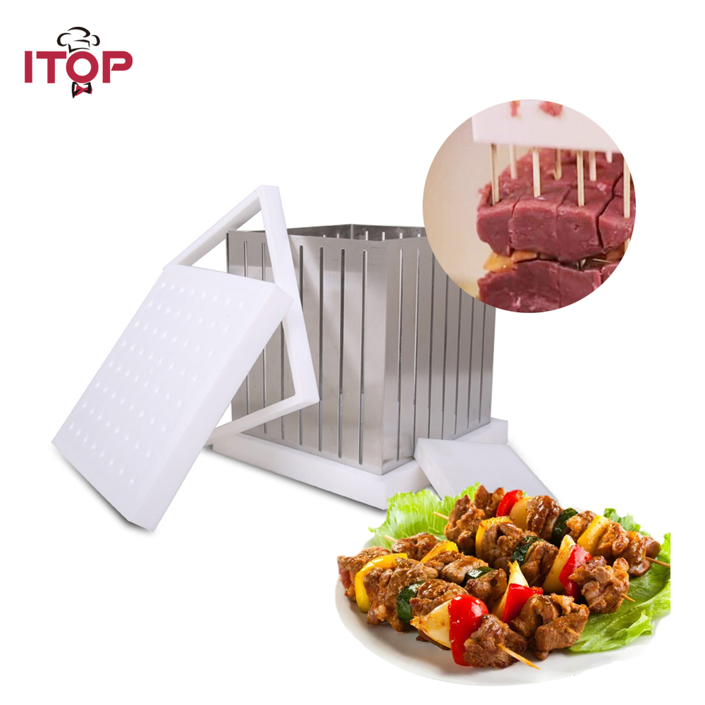 Stainless Steel + ABS Plastic Kebob Maker 64 Shewers for one time Barbecue Tool Kebab Box 1pc hot sale 100%quality guaranteed doner kebab slicer two blades electrical kebab knife kebab shawarma gyros cutter