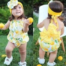 Одежда для новорожденных девочек, боди без рукавов на бретельках с лимонным принтом и круглым вырезом на спине, повязка на голову с бантом, 2 предмета, комплекты из полиэстера
