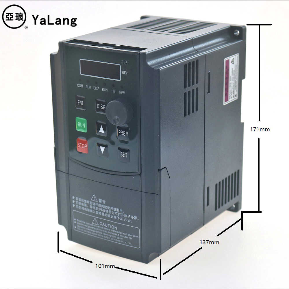 Controle variável da velocidade do eixo da movimentação do conversor de frequência do inversor vfd 2hp3hp da fase monofásica de 220 v vfd 1.5kw 2.2kw