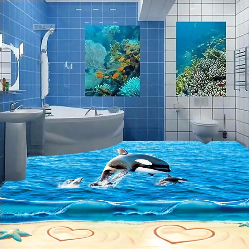 Free Shipping 3D marine beach whale floor sticker painting office study home waterproof floor wallpaper mural