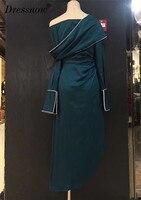 High Quality Vintage Dresses for Women long Sleeve Slash Neck Solid Blue Dresses Summer Lady A line Mid calf Dress