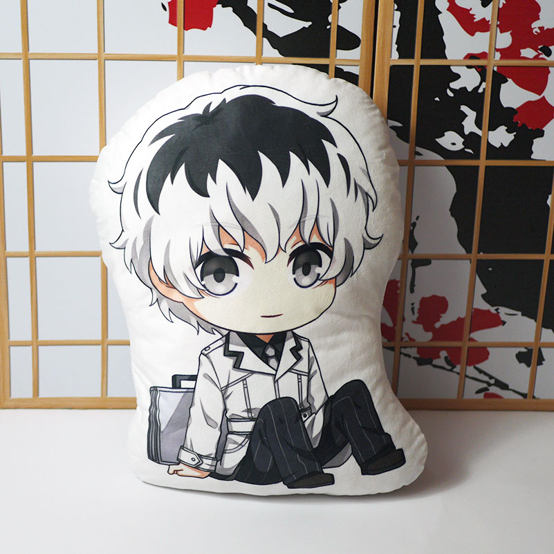 Tóquio ghoul travesseiro brinquedo anime kaneki ken pelúcia curta boneca dupla face fronha q versão bonito 45cm para o presente