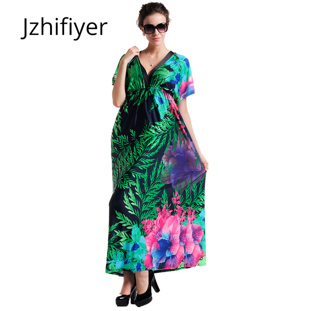 Aliexpress.com : Buy plus size maxi dresses women\'s oversize summer beach  tunic bohemian femme casual sarong slim elastic vestidos dress from  Reliable ...