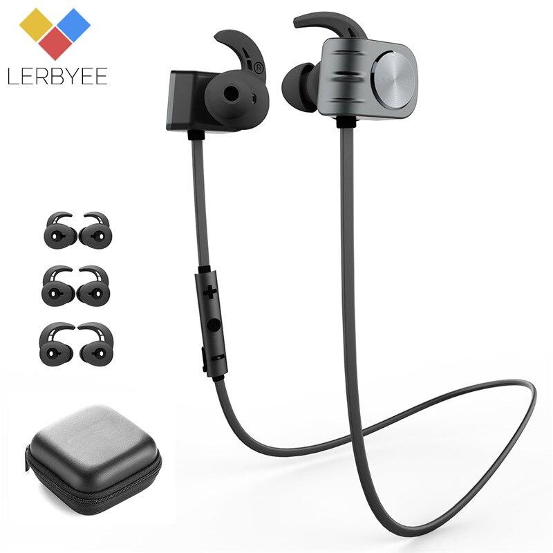 Lerbyee Sans Fil Bluetooth Écouteur IPX5 Imperméable Magnétique Écouteur Casque à Réduction De Bruit Double Batterie Portable pour le Sport