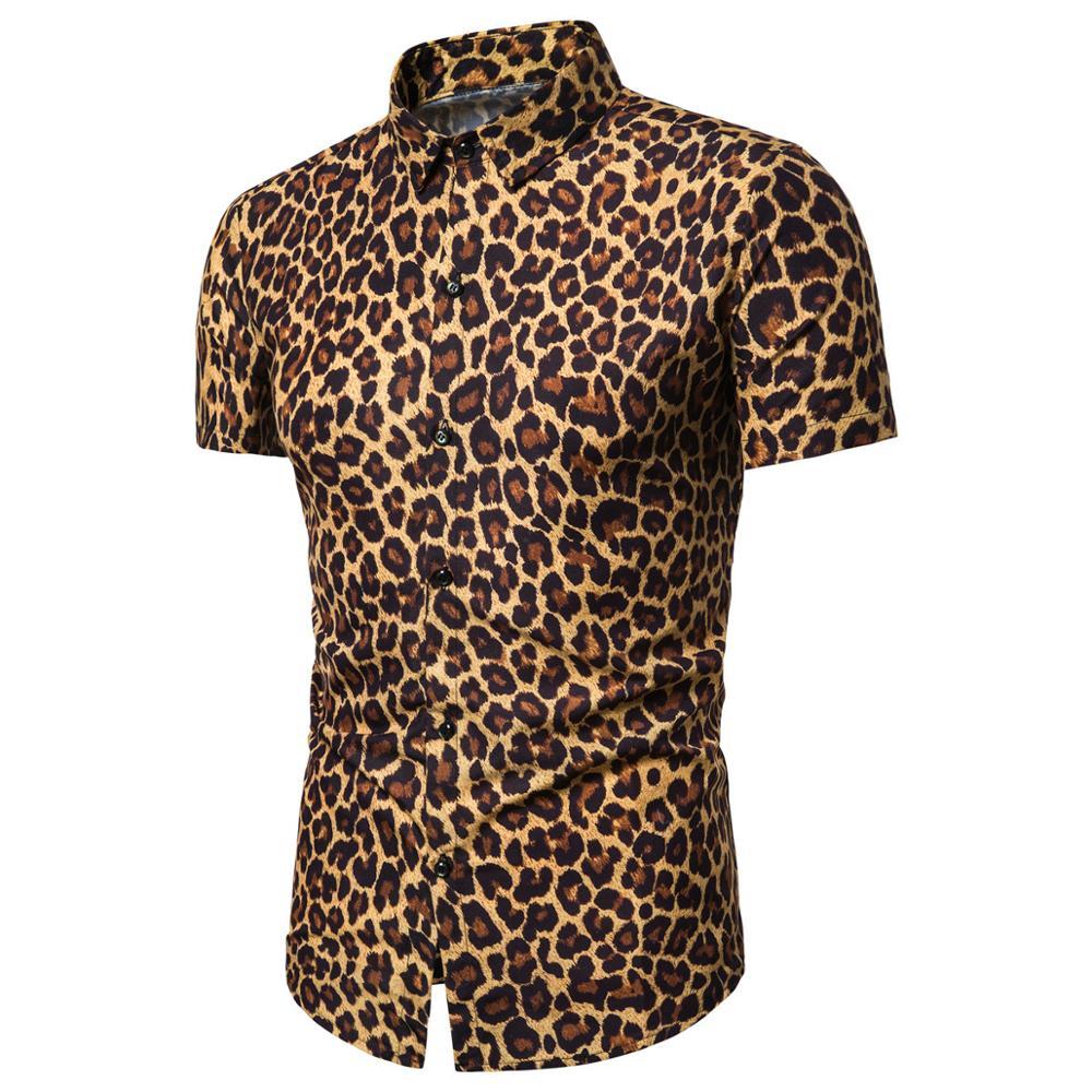 Mens Trend Nightclub Leopard Print Shirt High Quality Long Sleeve Shirt Male Social Casual Party Shirt Chemise Homme Dress Shirt