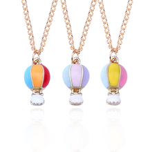 DIY  Rainbow Necklace Women Hot Air Ballon Pendant Gold Chain Colorful Enamel Necklaces&Pendants Christmas Gift Dropshipping