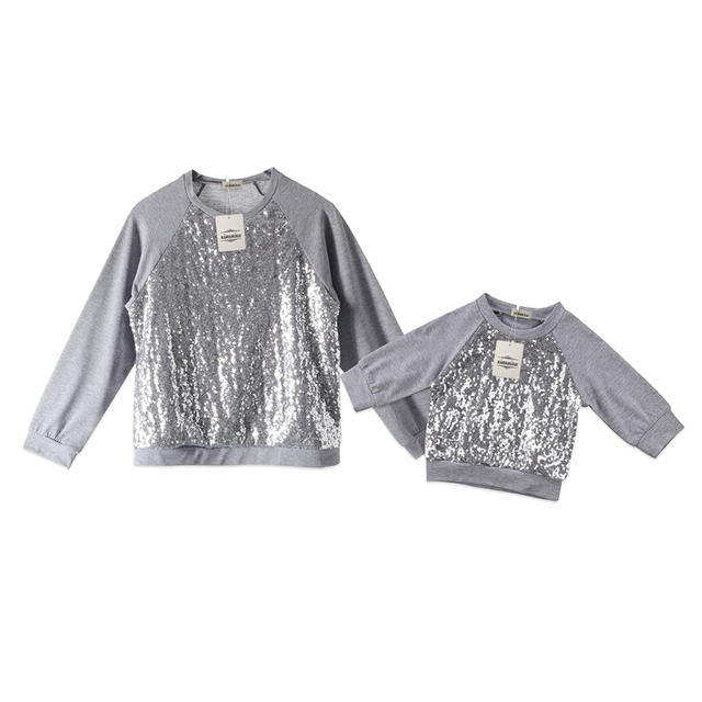 New Family Women Baby Girls Sequin Top T-shirt Blouse Sweatshirt Clothes  0-2Y Silver Sparkling 48e748d6cb57