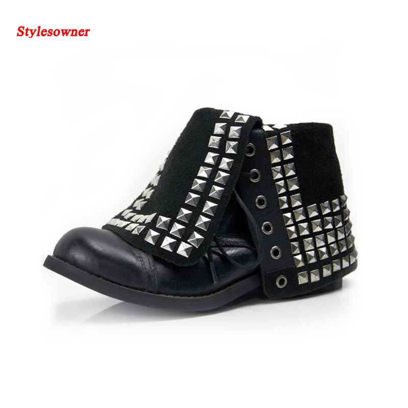 Stylesowner Women's boots leather do old vintage Martin boots female locomotive rivet bota black brown trendy cool short boots