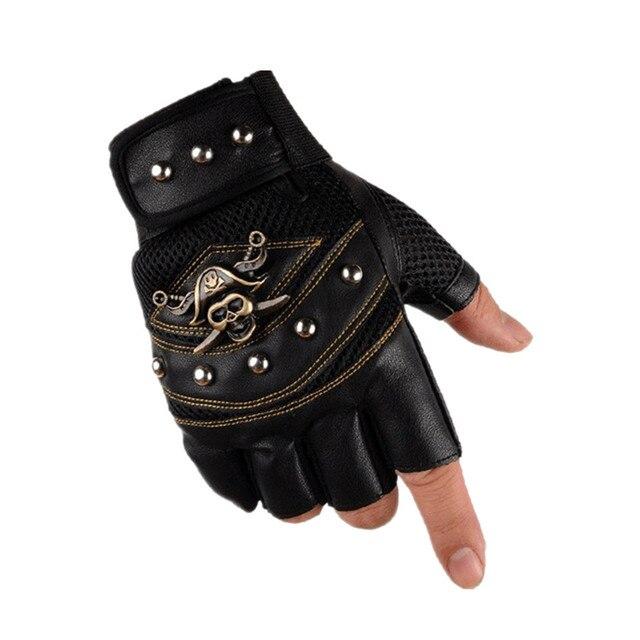 Long Keeper Skulls Rivet PU Leather Fingerless Gloves Men Women Fashion Hip Hop Women's Gym Gloves Half Finger Men's Gloves 2