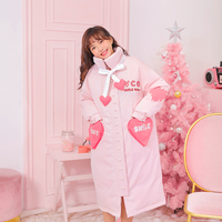 Princess sweet lolita parkas Winter girls love letters embroidered pearl 90 white duck down warm pink bread parkas VC241