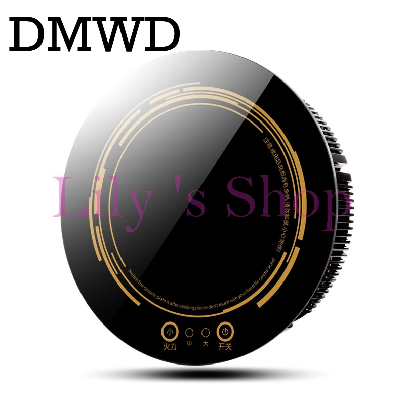 DMWD Round electric magnetic induction cooker wire Embedded mini hob Touchpad Burner Commercial waterproof hot pot stove cooktop touch intelligent electric magnetic induction cooker household waterproof oven mini hot pot stove kitchen cooktop 220v ca2007g