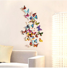 Hot Sale 3D Butterfly dragonfly Wall Decals12pcs 6big+6small PVC Sticker for Home Decoration