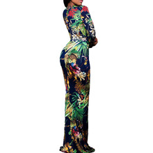 long sleeve dress winter women christmas apparel tropical floral print girls Mother of Bride long maxi bodycon club party dress