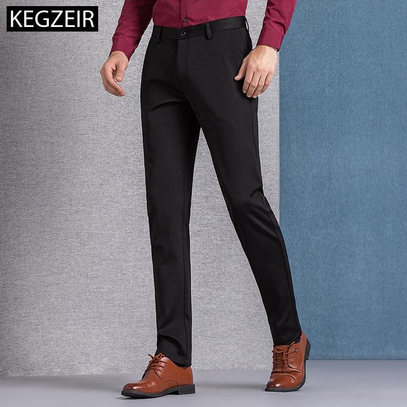 KEGZEIR High Quality Spring Winter Korean Pants Men Zipper Slim Men Trousers Casual Stretch Mens Fashion Pants Pans Hombre