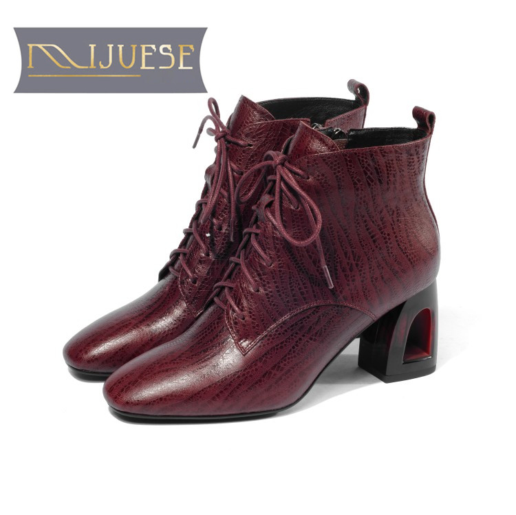 NEW 2018 fashion women winter cross tied boots leather zip round toe square heel riding motorcycle