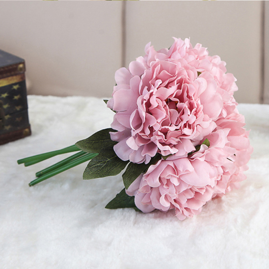 Artificial Peony Bouquet Silk Simulation Flowers Real-like Home ...