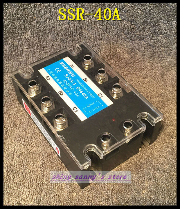 1Pieces SSR-40A 40A 480VAC Three Phase 3 Phase DC AC Solid State Relay Brand New normally open single phase solid state relay ssr mgr 1 d48120 120a control dc ac 24 480v