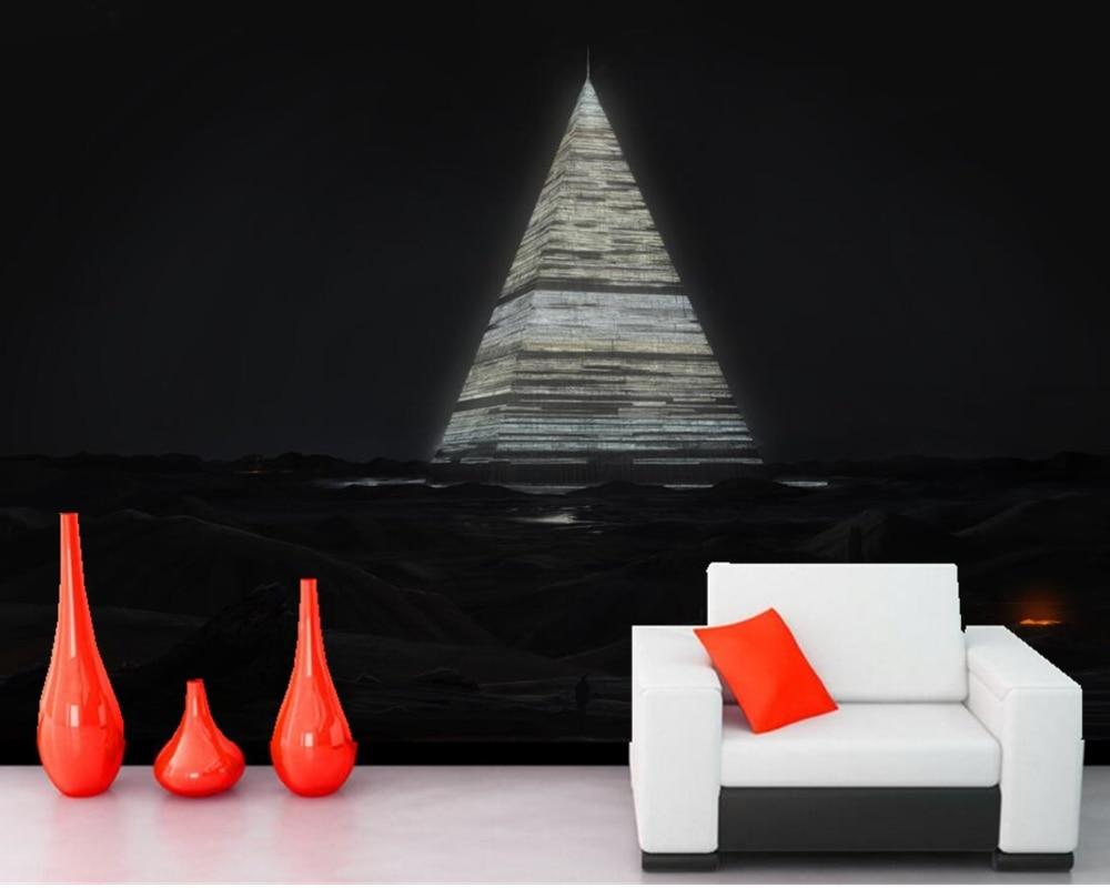 Custom modern 3D mural Pyramid Night Fantasy photo wallpaper sofa bedroom TV backdrop living room bar wallpaper papel de parede custom 3d photo wallpaper 3d stereoscopic green forest mural for living room bedroom tv backdrop waterproof papel de parede