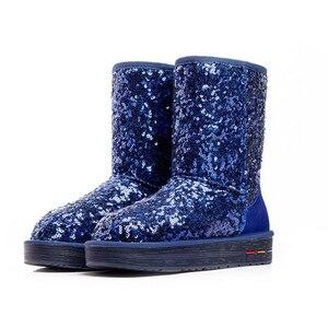 Image 4 - Botas de algodón de felpa de cuero genuino para mujer, botas cálidas de nieve de piel de vaca con lentejuelas, zapatos cálidos de cuero para invierno, 35 40, novedad de 2020